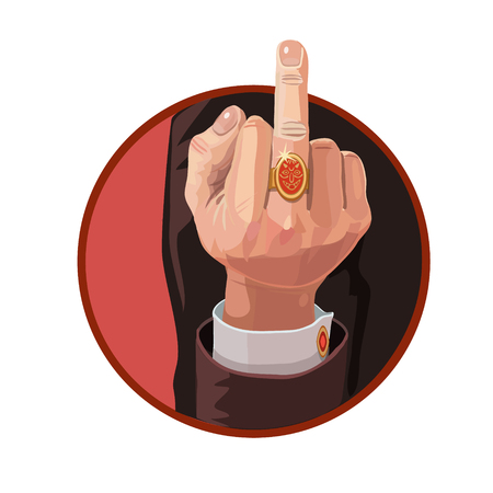 ring finger: Gestures, middle finger up, to send people with a cheerful mood, or desire of evil people who prevent you on your way Illustration