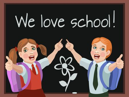 school meeting: The children go to school with a new joyful mood and a meeting with classmates and friends and favorite teacher, they love to learn!