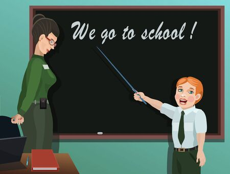 teacher and student: Student shows pointer and responds to the instructions of the teacher, on a blackboard you can write your any information!
