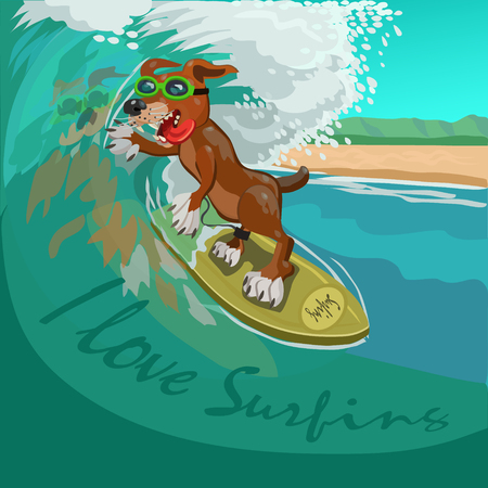 Dog surfer on the Board caught a wave and joyful and happy for this moment, the energy of water to roll on the wave! Illustration