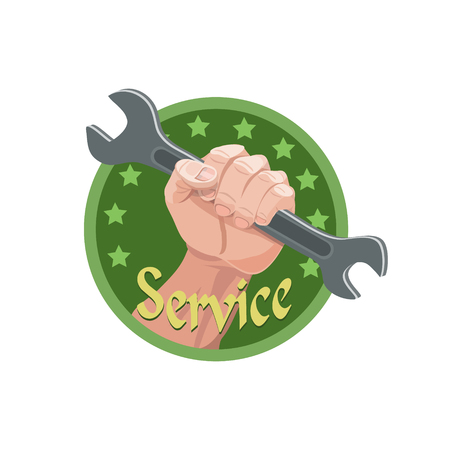 Service hand holding a wrench for those in need of assistance and debug of mechanical products and household appliances Illustration