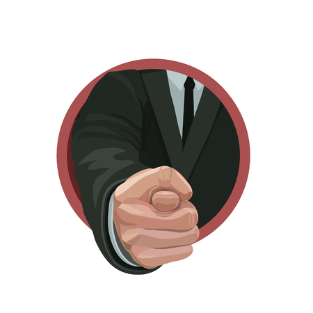 Man pointing a finger to deny or indifference to other people in their proposal or order in obedience or good wishes Illustration