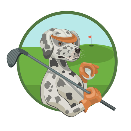 Dog Dalmatian loves to play Golf is a favorite sport on the green field to roll the ball in the hole and breathe fresh air! Illustration