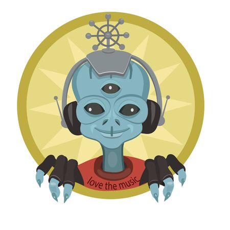 An alien from another world, sitting with headphones and listens to music world, he is happy with the beautiful music