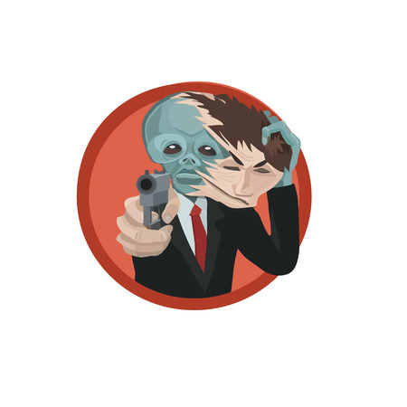 The newcomer takes off his mask, protecting himself with a pistol, it caught people exposed, he tries to leave Illustration