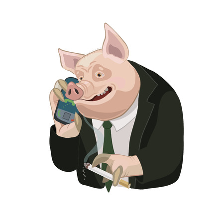 Pig talking on a cell phone, apply as screen saver who is calling you on a cell phone for a laugh