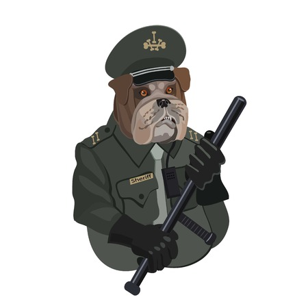 Dog Bulldog police officer with a baton, looks after the procedure, you need to be a little aggressive and attentive Illustration