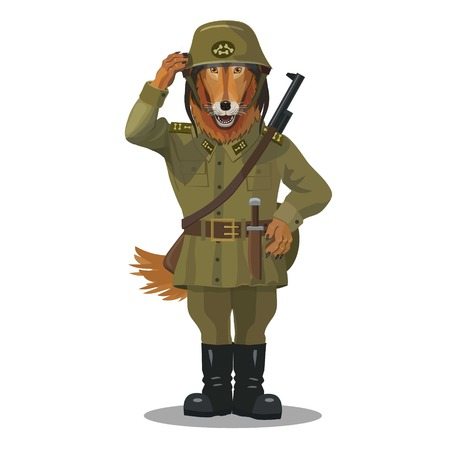 Soldier dog is a collie good team, he with the weapon always ready to help people Illustration