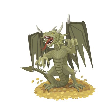 He dragon protects the gold, it opened its mouth and its sound scares off everyone who wants to come to gold Banco de Imagens - 76880290