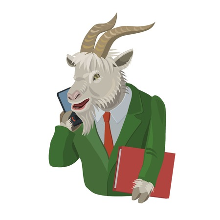 Goat calls on a cell phone to make a screensaver on a mobile phone who is calling you, laugh your secret
