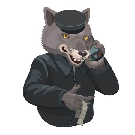 Wolf talking on a cell phone, hands twisting beads, to make a screensaver on your phone who is calling you?