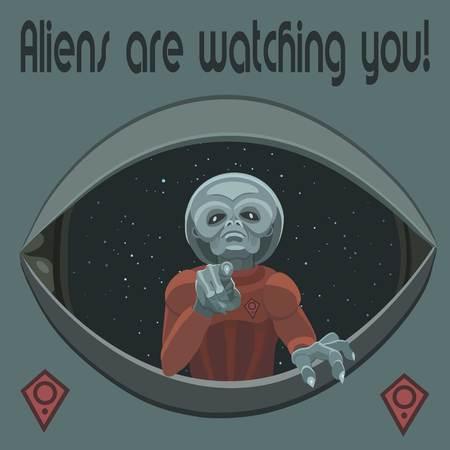 外国人があなたに指を指して、彼らは私たちの惑星を観察します。  イラスト・ベクター素材