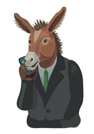 Donkey talking on the mobile phone, to make a screensaver on your phone who is calling you, laugh your secret