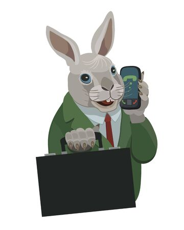 Rabbit, talking on a cell phone to make a screensaver on your phone who is calling you, laugh your secret
