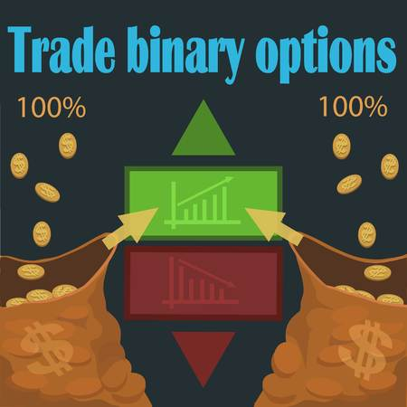 Trade binary options, faster and easier to make money by correctly make a prediction choosing trades up or down! 向量圖像