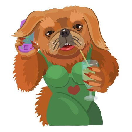 Dog Pekingese talking on a mobile phone is small and cute with big eyes, to make a screensaver on your phone who is calling you?