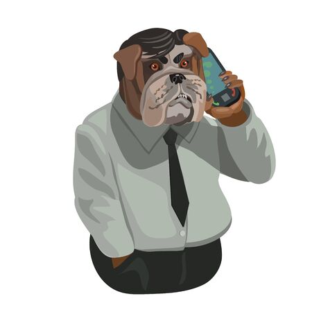 configured: Dog people bulldog talking on a cell phone that is configured for an active conversation, to make a screensaver on your phone who is calling you?