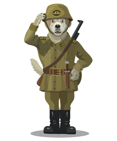 labrador: Soldier dog is a Labrador, the team performs a clear and responsible among the other dogs, kind, sympathetic, always ready to help. Illustration
