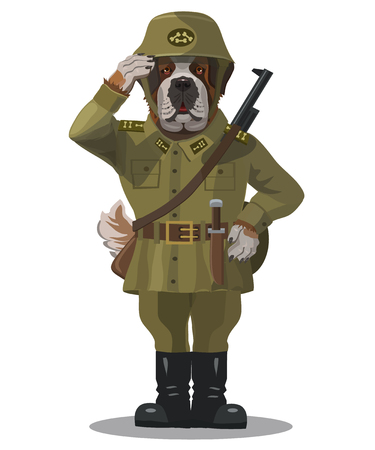 Soldier dog, the St. Bernard, good, huge, responsive, always come to the aid of another, he is dressed in the clothes of a soldier, a weapon for protection
