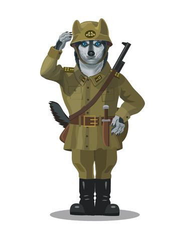 Soldier dog Husky Illustration