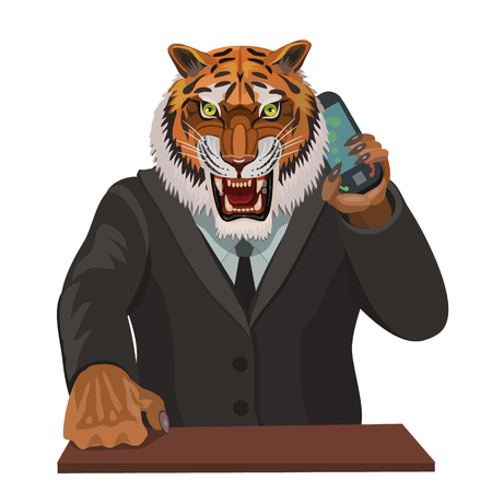 subdue: Tiger angry talking on a cell phone, a supervisor gives instructions or disobeys the instructions to make a screensaver on your phone who is calling you? Illustration