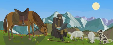 Shepherd herding sheep in the mountains and through the laptop is being rewritten on the Internet with your friends around the world!