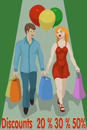 Discounts on shopping items and goods 20%, 30%, 50%, the girl and the guy did purchase things at low and best price!