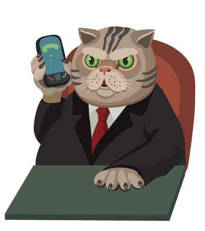 Cat fat man talking on his cell phone, hes a thoroughbred, the chief, to make a screensaver on a mobile phone or a computer who is calling you! Illustration