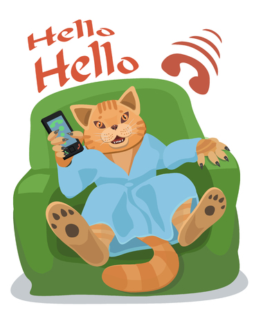 Cat resting in armchair and talking on a cell phone to make a screensaver on a mobile phone or a computer who is calling you!