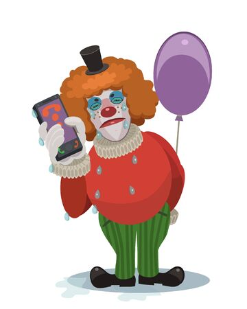 The clown is crying, the feast is cancellation of this information to the on the phone