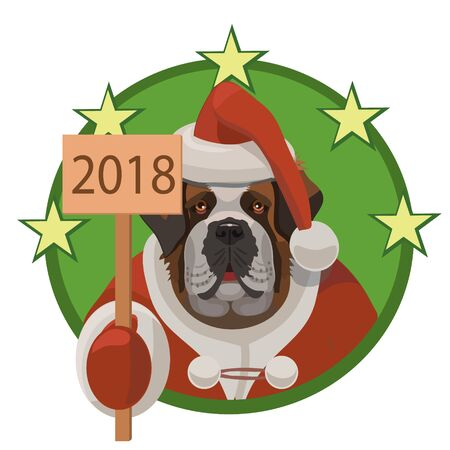 Dog  - St Bernard happy new year 2018, large good dog and the year of joy and happiness, true friends and good mood!