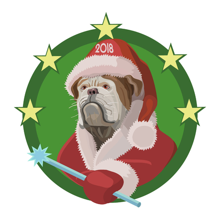 Dog Bulldog happy new year to 2018, hes in the red cap of Santa Claus with a magic wand desires, will bring joy and happiness!