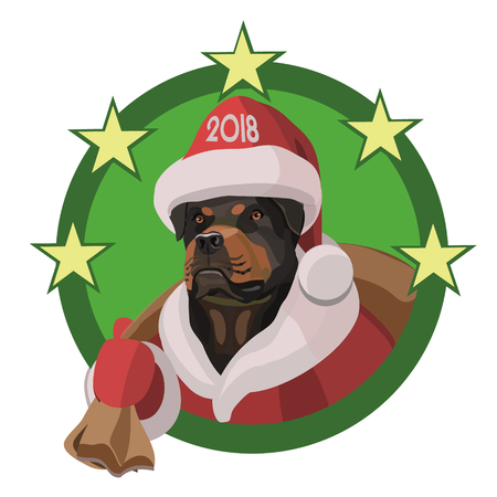 Dog Rottweiler happy new year 2018, this year will bring a bag of pleasures, loyal friends and good mood!