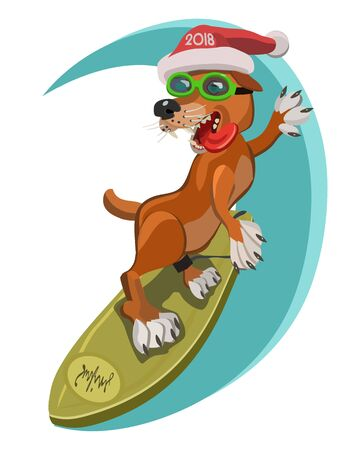 Dog surfers happy new year 2018 is on the Board gets the adrenaline pumping speed slides on the waves of joy and good luck! Illustration