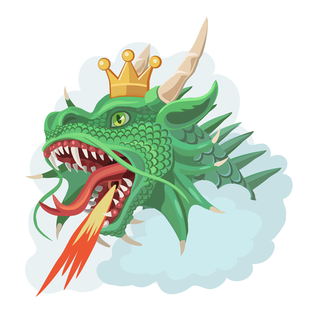 Green dragon with a crown in the clouds on white background.