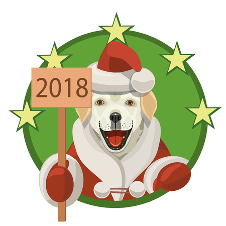 Labrador dog, he smiles and shows that its the new year and 2018 congratulates all.