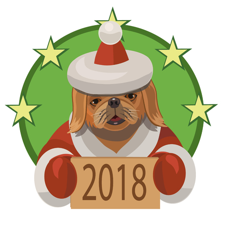 Dog Pekingese happy new 2018 year and wishes everybody a lot of true friends and good mood.