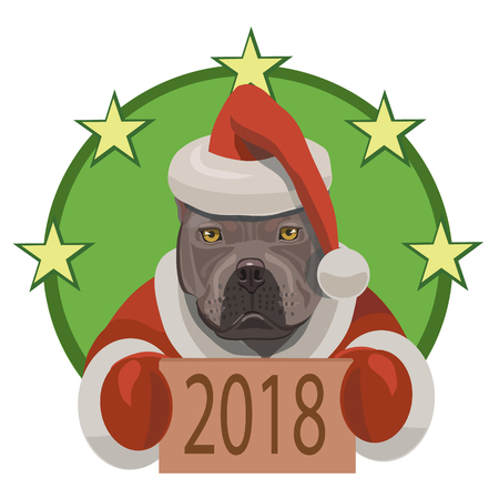 Dog fight pit bull shows that came on a horoscope year of the year 2018, and he congratulates everybody with new year! Ilustração