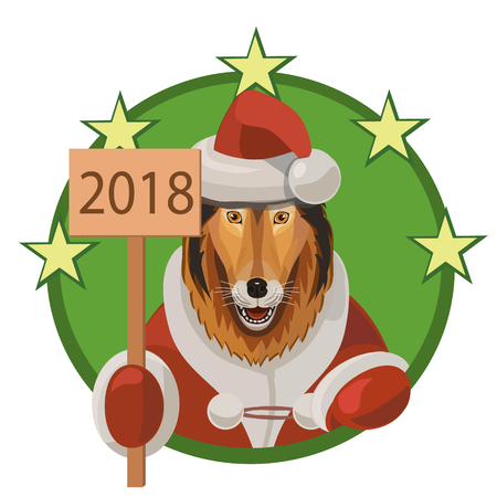 Cartoon style illustration of a Dog wearing a santa costume and holding 2018 New Year banner.