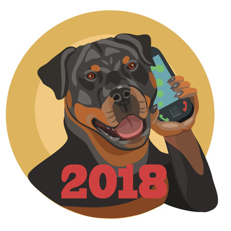 Rottweiler Dog on the phone, with 2018 New Year banner. Illusztráció