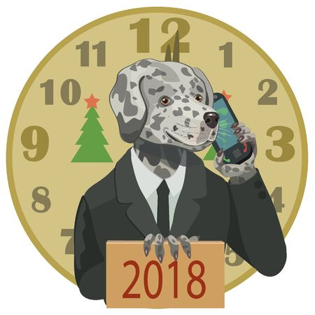 Dalmatians Dog with mobile phone and a 2018 new year banner.