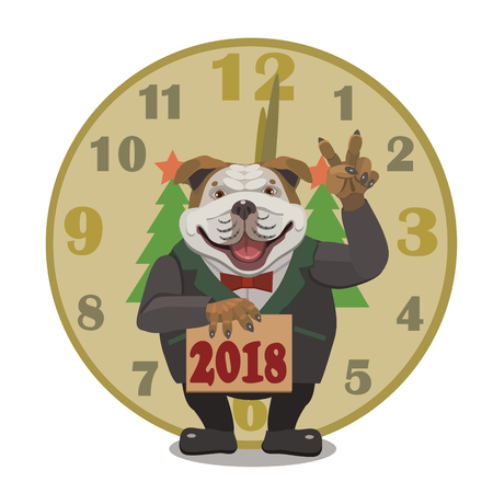 Dog Bulldog stands next to the clock, happy new year 2018, it shows two fingers of freedom, that was the year of the dog!