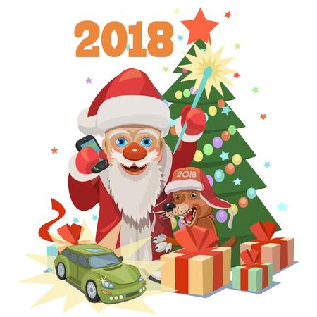 Christmas greeting card design,  santa claus giving prizes concept illustration.