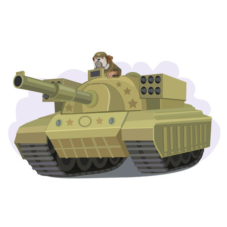 Tank new model with a rocket launcher on the suggestive sight of a dog.