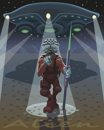 Alien warrior with spear with green tip is a new unknown weapon, it chose you and shows with your finger!