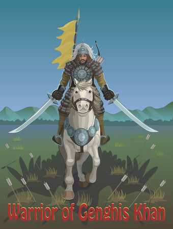 Genghis Khan warrior on a horse he has two swords he jumps in the steppe as two wings of a flying eagle, he is fearless he fights with enemies! Stok Fotoğraf