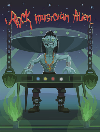 Rock musician alien plays piano, heavy and aggressive rock music that hang with heavy weight.