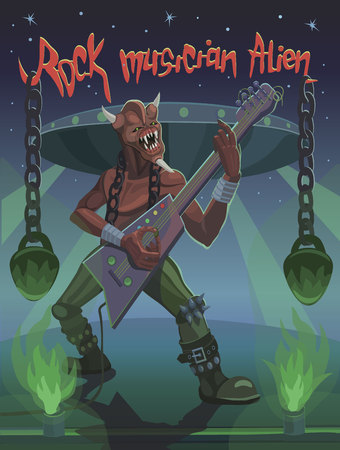 The rock musician plays an alien on the guitar, heavy and aggressive rock music.