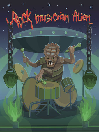 Rock musician alien plays drums, heavy and aggressive rock music creates a kind of chains that hang with heavy weight. Çizim