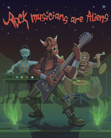 Rock musician aliens playing the guitar, drum and piano singing the song of the universe space.